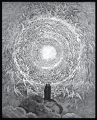 Black-and-white illustration of people standing on clouds near a sun vortex.