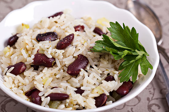 Rice and beans in a bowl.