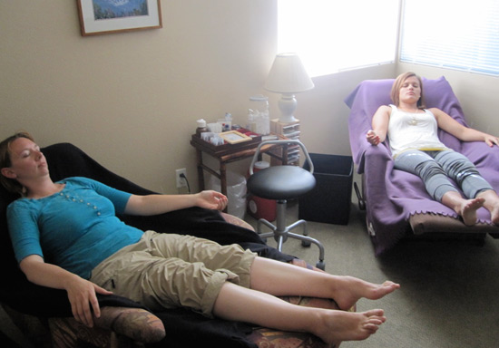 Patients receive treatment on recliners