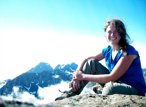 Student with mountains in background