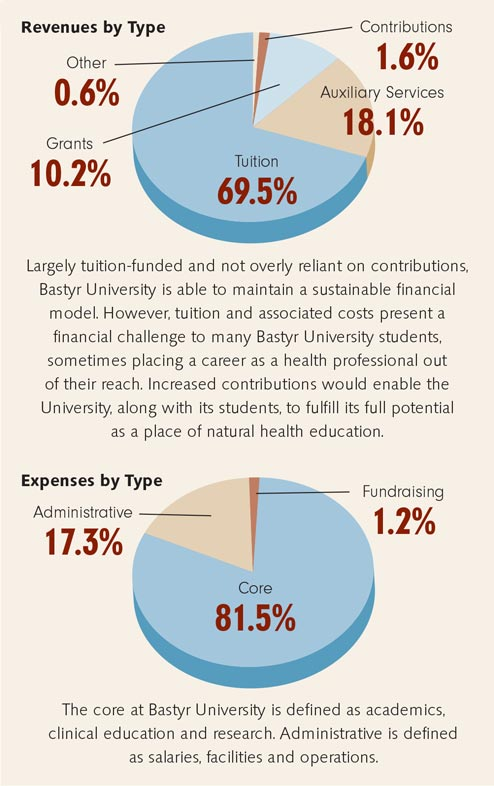 Pie charts showing Bastyr's financial health.