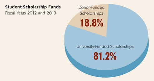 Charts showing student scholarships.