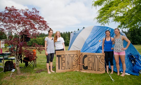 Students outside tent on campus