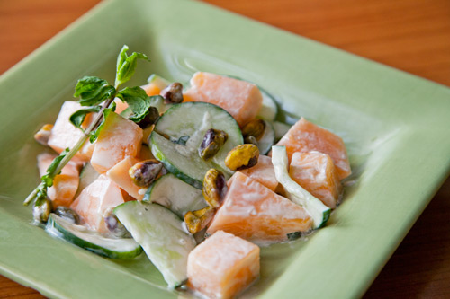 ... cantaloupe, cucumber and mint; toss to combine. Sprinkle with