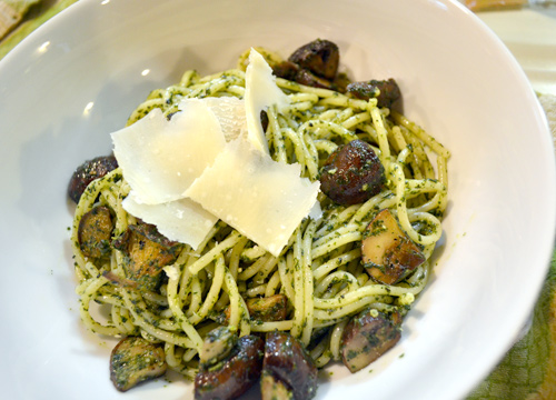 Stinging Nettle Pesto with pasta