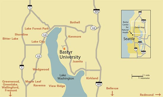 A map showing neighborhood names near Bastyr University.