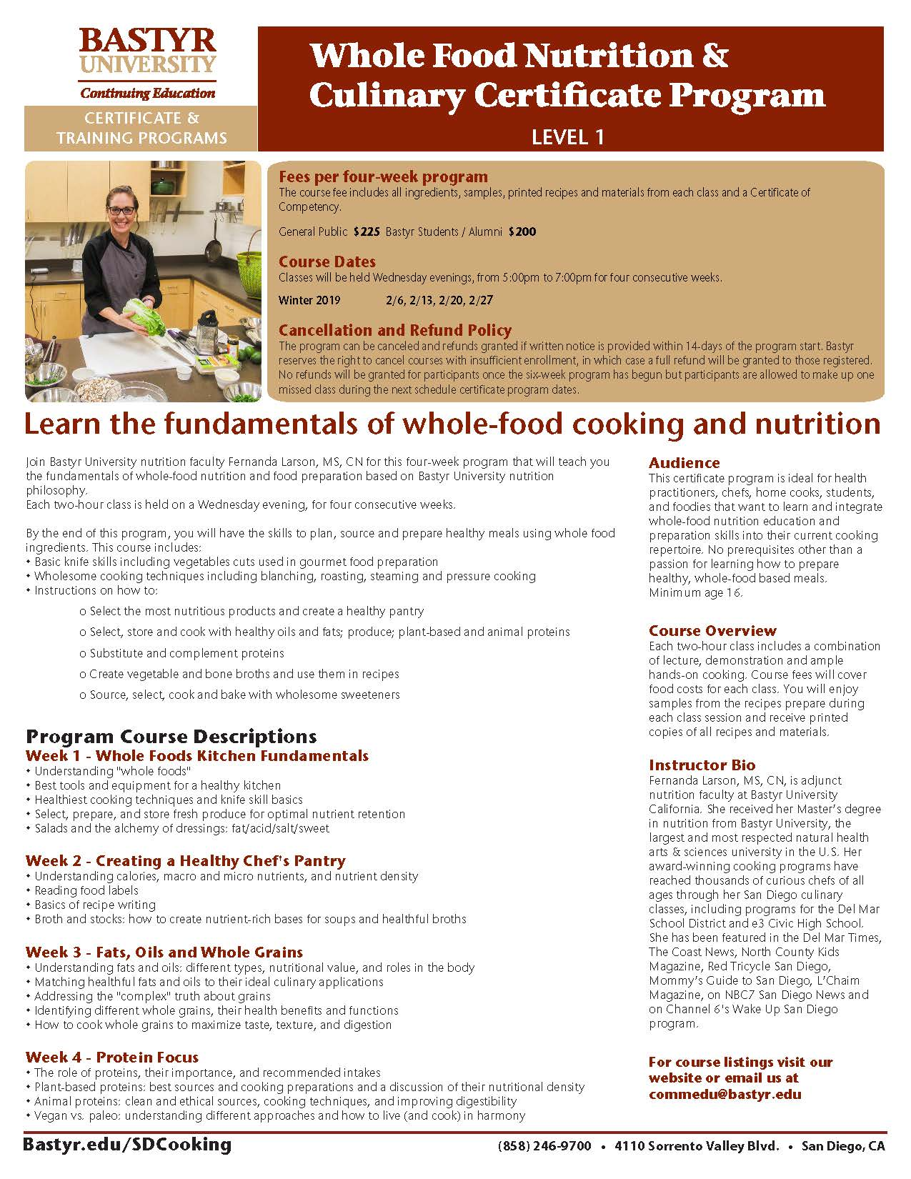 Whole Food Nutrition Culinary Certificate Program