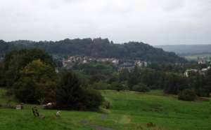 Hillside pastures and forest and the town of Bad Orb. Photo courtesy Aimee Huyck