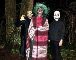 Students in scary costumes