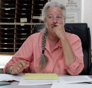 Leanna Standish, PhD, ND, LAc, FABNO, at desk