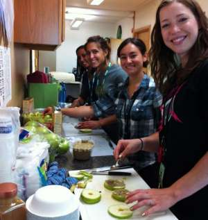 Nutrition volunteers in kitchen