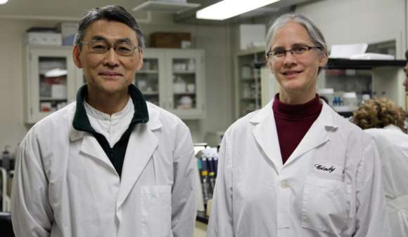 Bastyr University Researchers Masa Sasagawa, ND, and Cynthia Wenner, PhD, in laboratory