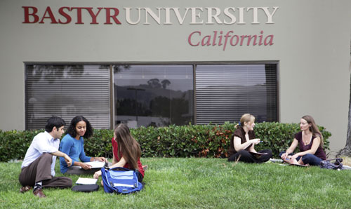 Students studying outside Bastyr University California.
