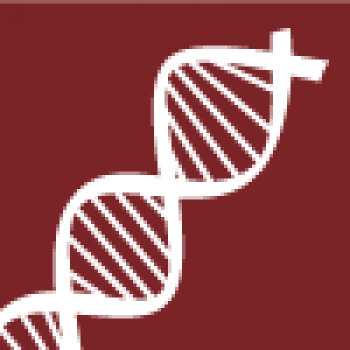 Reversed out symbol of a DNA strand.