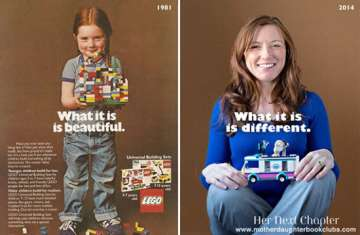 Rachel Giordano poses with legos as a child and an adult