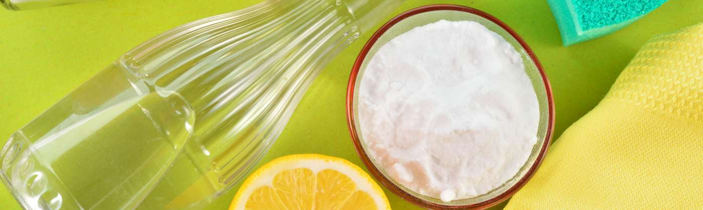 lemon baking soda and cleaning supplies