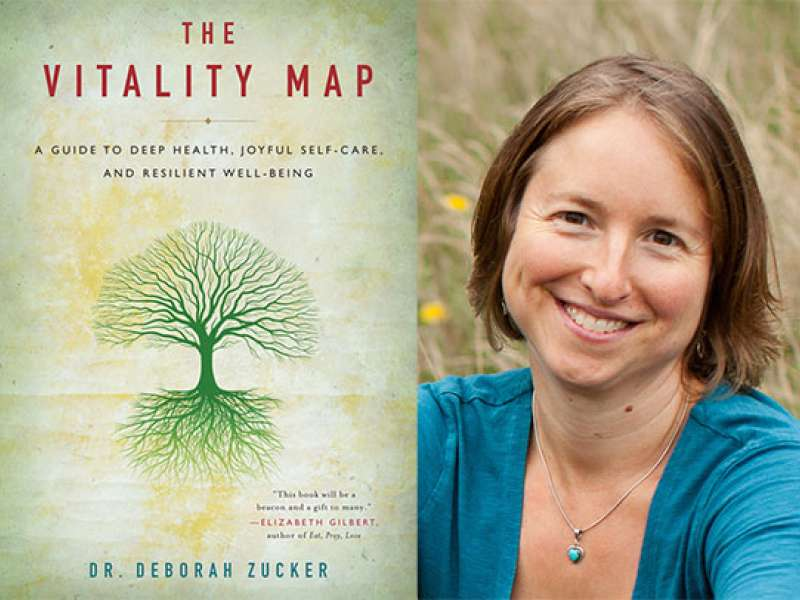 Cover of The Vitality Map book and a picture of Deborah Zucker, ND,