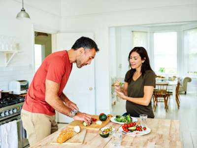 couple enjoying a meal, couple cooking, meal prep, healthy living, healthy eating