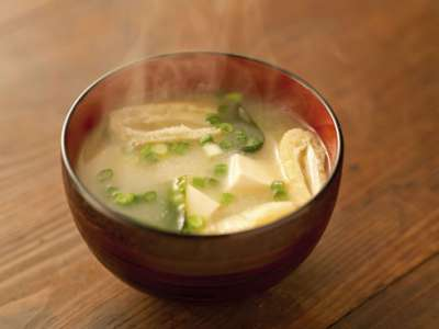 Bowl of steaming miso soup.