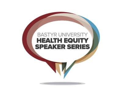 Multi-colored speech bubble with speaker series text inside