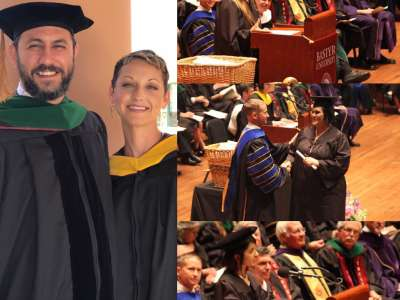 2017 Commencement Student Speakers awarding diplomas to Bastyr graduates