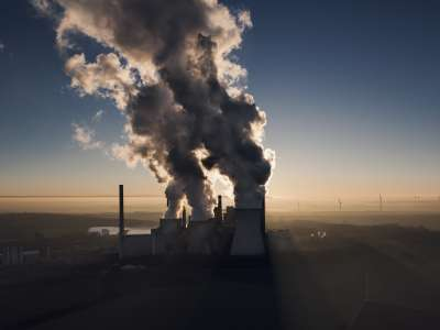 Smoke stacks and pollution in the air