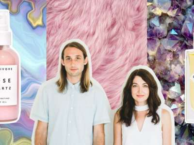 Julia Wills and husband in front of skincare art background