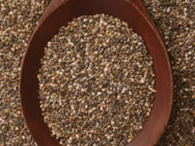 Wooden spoon full of chia seeds