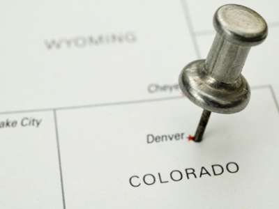 Map with thumbtack in Colorado