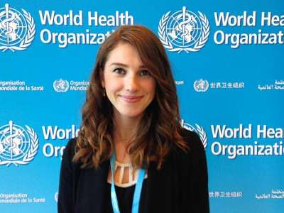 Griffin McMath, ND candidate at Bastyr University California, at the World Health Organization's World Health Assembly.