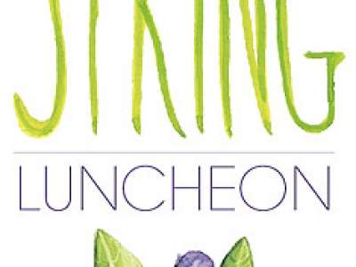 Graphic art of blueberries and spring luncheon logo