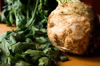 Celeriac root with leaves