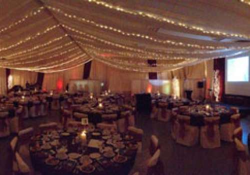 A panoramic image of the Dining Commons, set up for Founders' Day