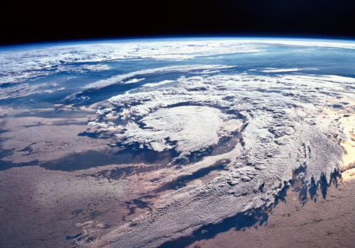 hurricane spiral as seen from the upper atmosphere