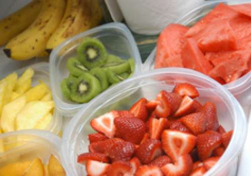 Picture of strawberries, kiwis, bananas, pineapples, and watermelon