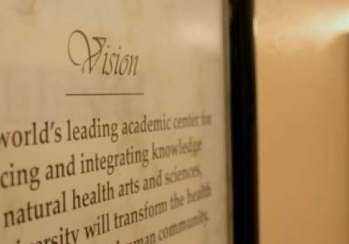 A closeup of the University vision statement.