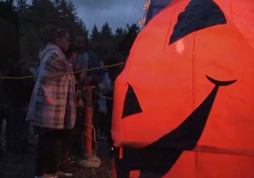 Inflatable pumpkin at Haunted Trails
