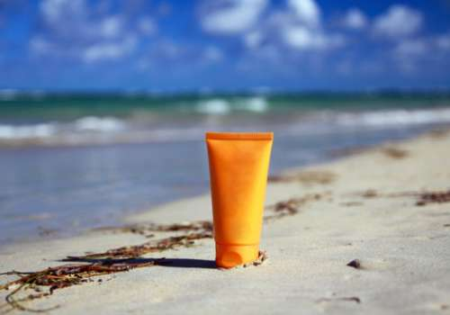 sunscreen on beach