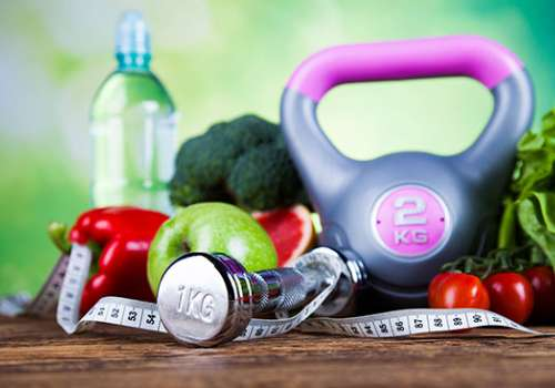 healthy lifestyle items weights, fruit vegetables