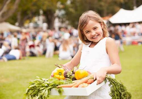 Young girl holding box of fresh vegetables at farmers market.
