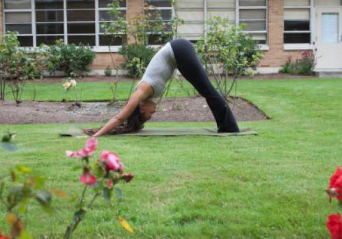 A woman bends into a yoga pose in the Bastyr rose garden.