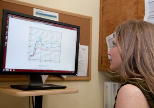Laurie Mischley, ND, looks at test results