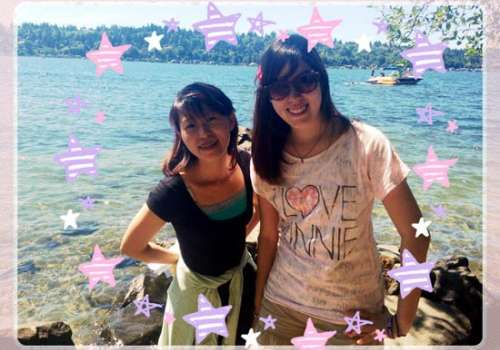 Student and friend at St. Edward State Park beach
