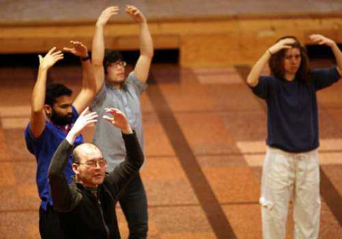 Dr. Guan-Cheng Sun teaches qigong in the Bastyr University Chapel.