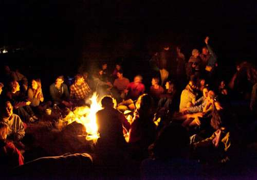 Students at campfire