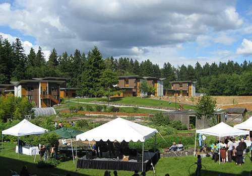 A view from a second story window of the Herb Garden and Sacred Seeds Trail