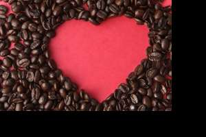 Picture of a heart made of coffee beans