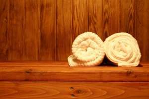 Towels in a sauna