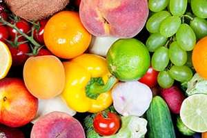 Assortment of colorful fruit.