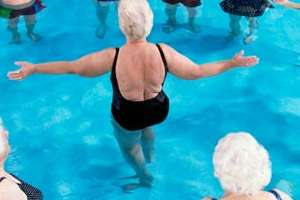 Senior water aerobics group